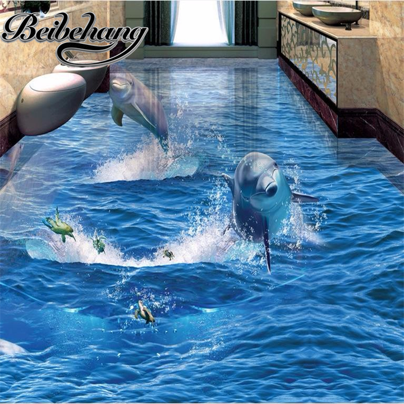 beibehang Decorative floor painting Custom self-adhesive 3d wallpaper living room wallpaper mural dolphin 3 d floor waterproof free shipping 10pcs mk1467s