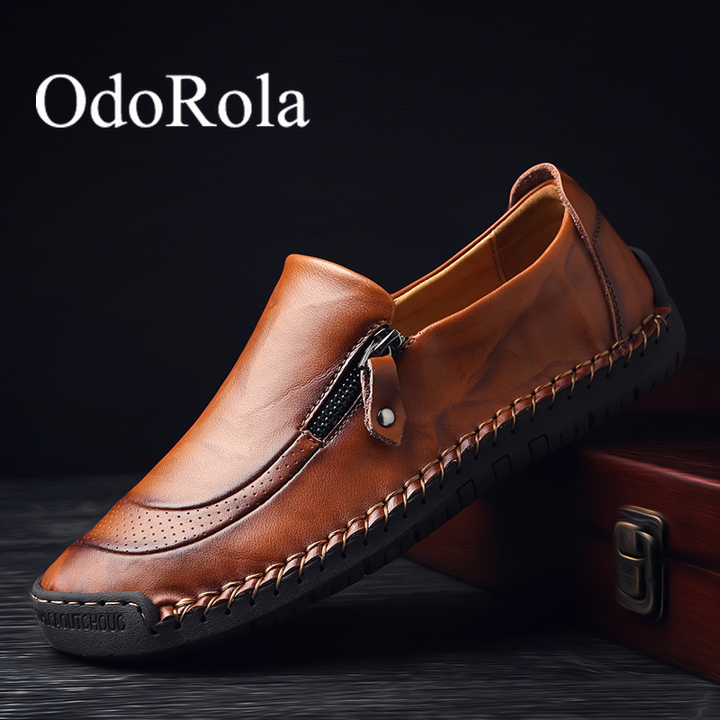 OdoRola Mens Sheos Genuine Leather Loafers High Quality Mens Driving Shoes Handmade Men's Leather Loafers Casual Business Shoes