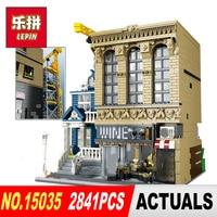 Lepin 15035 2841Pcs Genuine Creative Streetsight MOC Series The Bars And Financial Companies Set Building Blocks