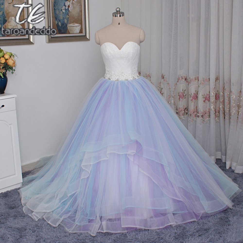 2017 sweetheart neckline multi color skirt ball gowns for Colored wedding dresses 2017