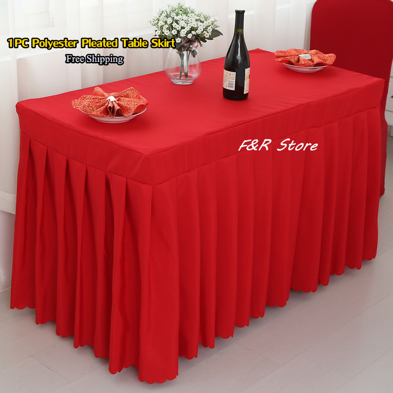 Free Shipping 1PC White Polester Tablecloth Fancy Table Skirting of Wedding Party Decor Event Supplier Hotel