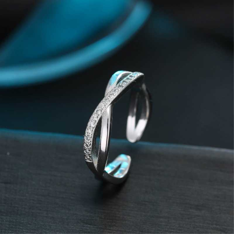 Cross Mosaic Elegant 925 Sterling Silver Exquisite Wild Temperament Personality Fashion Female Resizable Opening Rings SRI104