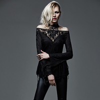 Gothic Strapless Deep V Neck Hollow Out T Shirt Steampunk Black Sexy Off Shoulder Lace Tee Shirt Tops
