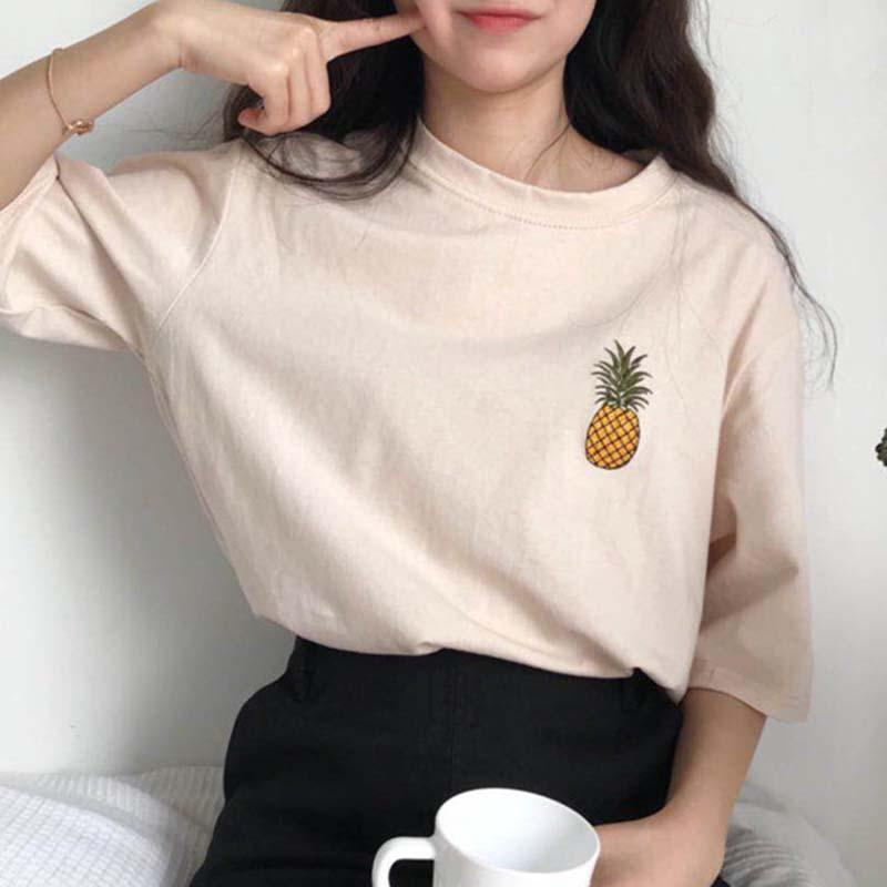 MISSKY 2019 New Women Summer Tshirt For Female Fashion Casual Pineapple Printing Short Sleeve Round Neck T-shirt Female Clothes