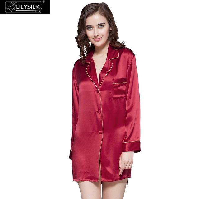 72283cb346d7a4 LilySilk Nightgown Chemises Nightshirt Girls Dress Pure 100 Silk Sleepwear  Women Mini Long Sleeve Buttons Clothing Free Shipping