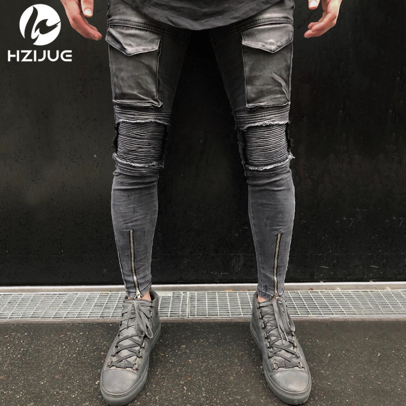 Black Biker Jeans High Stretch Jeans 1