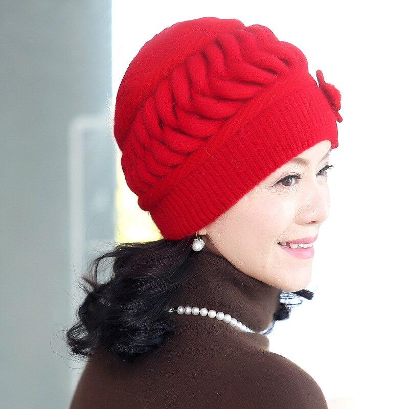 Hiver personnes âgées lapin laine tricoté chapeau mère chapeau automne et hiver jours chez les personnes âgées dames oreille casquette épaissie pour garder au chaud