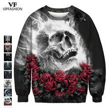 VIP Fashion 2019 Hot Sale Couple Sweatshirt 3d Full Printed Halloween Rose Skull Horror Design Pattern Party Women Hoodies