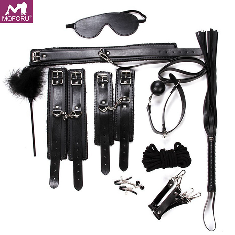 10pcs/set Sex Bondage Restraint SM Fetish bdsm Handcuffs Blindfold Collar Gag Whip Rope Erotic Adult Games Sex Toys for Couples10pcs/set Sex Bondage Restraint SM Fetish bdsm Handcuffs Blindfold Collar Gag Whip Rope Erotic Adult Games Sex Toys for Couples