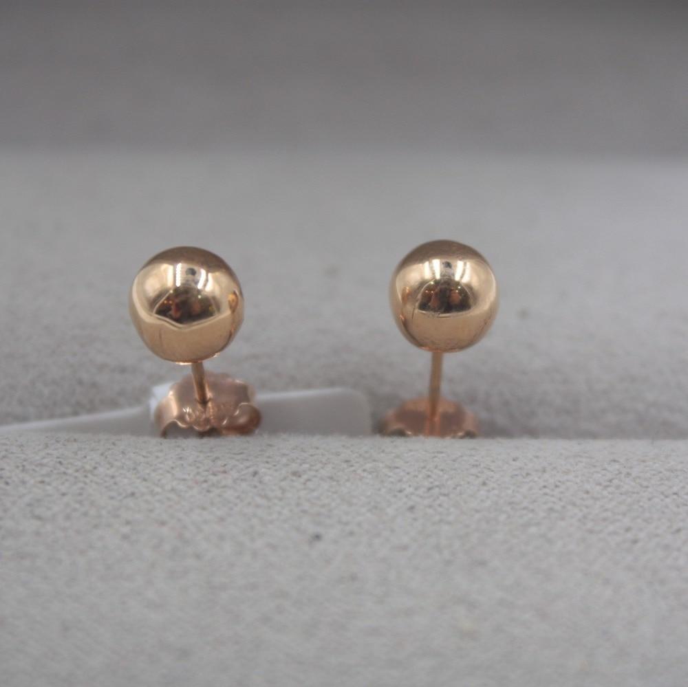 Pur 18 K or Rose boucles d'oreilles personnalisé petite boule lisse mignon boucles d'oreilles 1.3-1.5g tous les jours bijoux petite amie meilleur cadeau - 2
