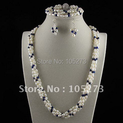 Charming!pearl jewelry set AA 4-6mm lapis&white Genuine freshwater pearl necklace bracelet earring Hot sale free shipping A2457 free shipping hot sale jewelry 3 rows oval white black pearl necklace
