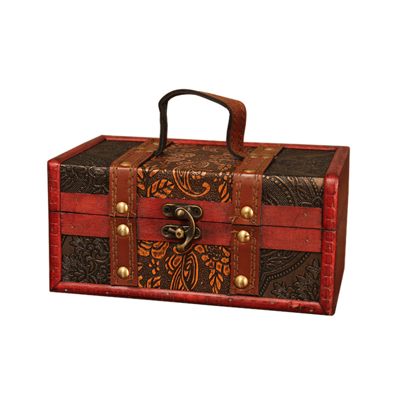 Packaging-Box Lock Wooden-Box Square European With Hand-Held Gift-Collection Beauty-Articles