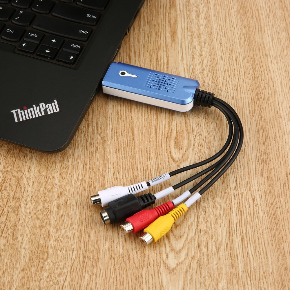 цена Universal Portable USB 2.0 Video Audio Capture Card TV card Adapter VHS DC60 DVD Converter Composite RCA Blue Supports NTSC PAL