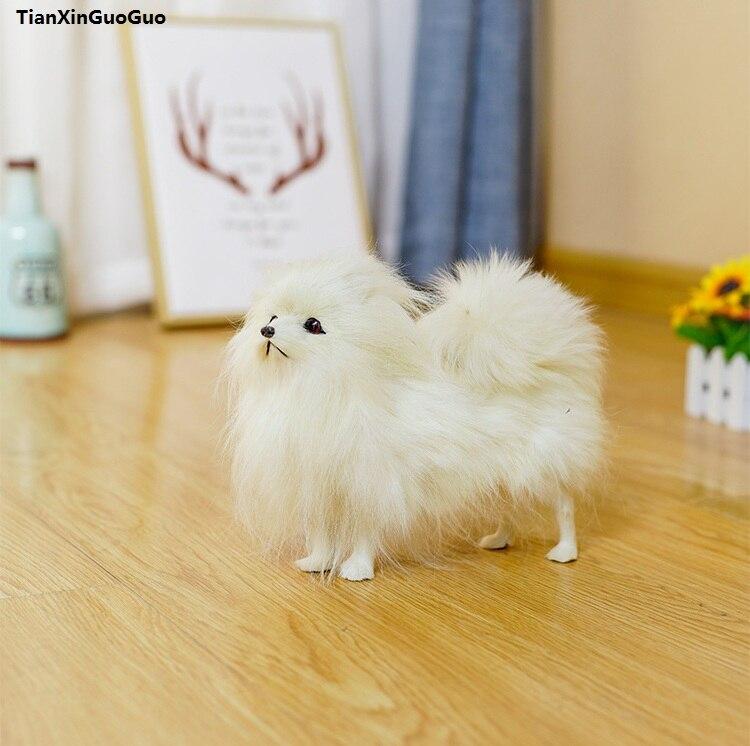 simulation white Pomeranian hard model about 24x20cm polyethylene&furs dog handicraft home decoration birthday gift s1216 gift n home