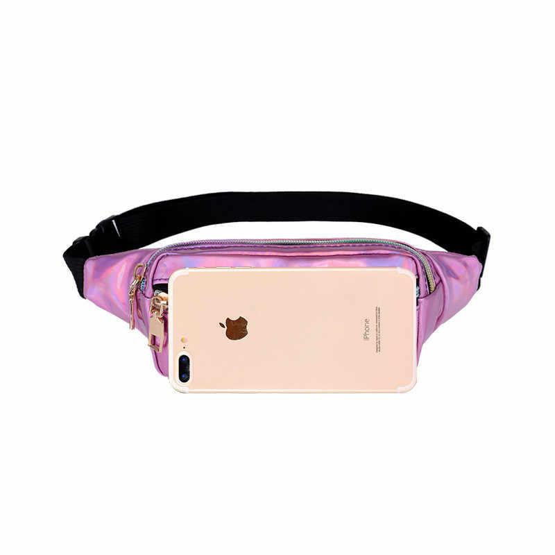 Lucdo Hologram Pack Laser Pinggang Paket Desainer Pinggang Kecil Perjalanan Tas Kantong Kulit untuk Wanita Fashion Ponsel Sabuk Tas Perut hip