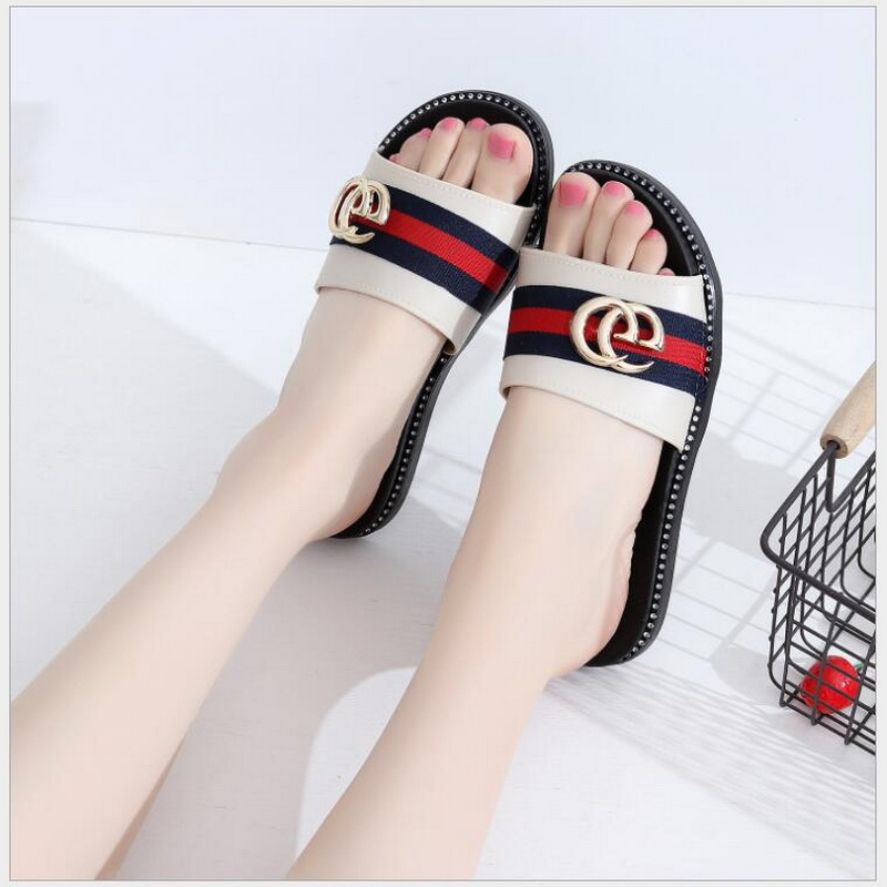 RUSHIMAN Summer Women Slippers Ladies Open Toe Comfortable Flat Heel Fashion Slides Metal Decoration Shoes Woman beach slippers aimeigao large size summer slides women slippers ladies flat heels shoes open toe comfortable outside slippers women shoes