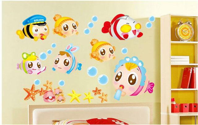 nemo sea cartoon cute baby room bathroom home decoration wall ...