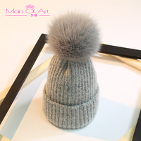 Nieuwe mode herfst en winter hoed warm echt vossenbont bal breiwol hoed caps hoofddeksels fabrikanten groothandel custom
