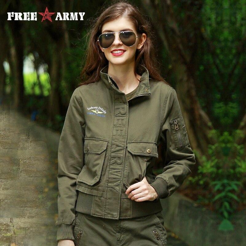 FreeArmy Autumn Women s Bomber Jacket 3 Colors Winter Thick Army Green Pockets Military Camo Jackets