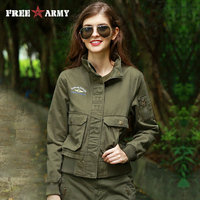 FreeArmy Autumn Women's Bomber Jacket 3 Colors Winter Thick Army Green Pockets Military Camo Jackets Female Jackets Plus Size3XL
