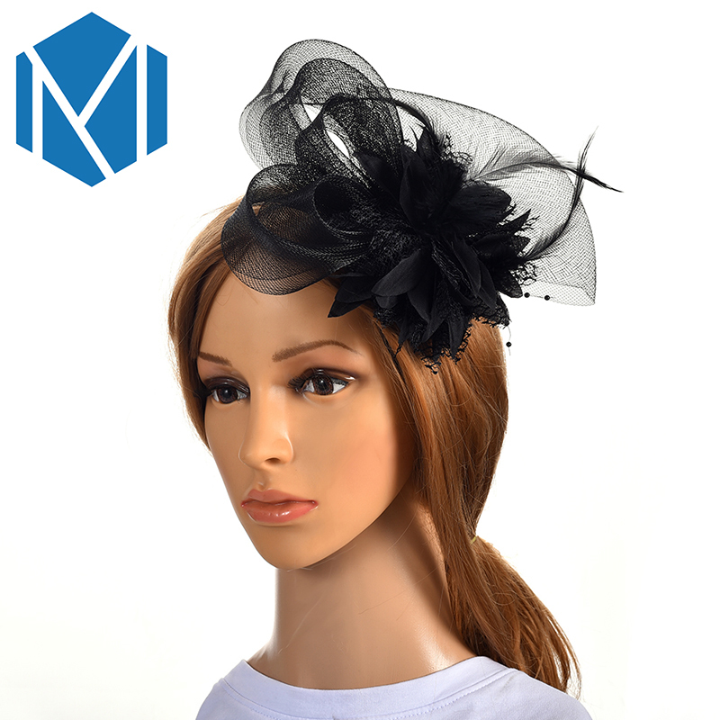 MMISM Wedding Party Fascinator Hair Clips Women French Veiling Cocktail Hat Mesh Headpiece Classic Bridal Floral Church Hairpins headpiece