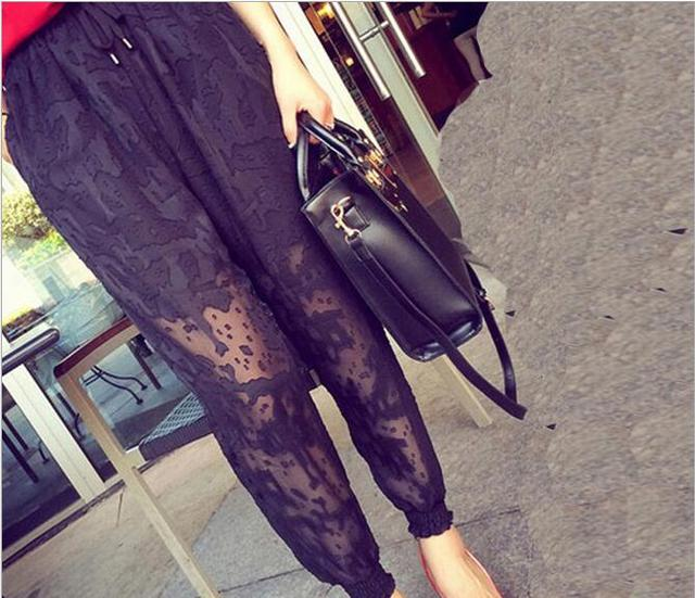 Maternity summer new fashion chiffon pregnant women harem pants hollow pregnant women casual pants capris