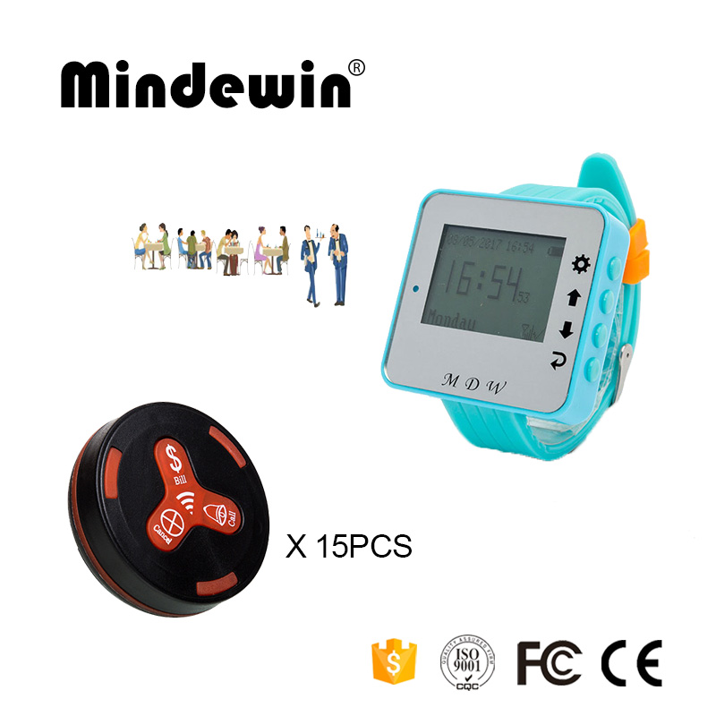 Mindewin Call Pager 15PCS Table Waterproof Call Button M-K-3 and 1PCS Watch Pagers M-W-1 Wireless Calling System For Restaurant wireless bell button for table service and pager display receiver showing call number for simple queue wireless call system