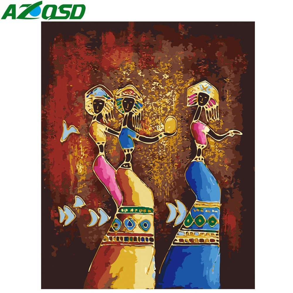 AZQSD Painting By Numbers Paint African Girl DIY Canvas Picture Hand Painted Oil Painting Home Decoration K438