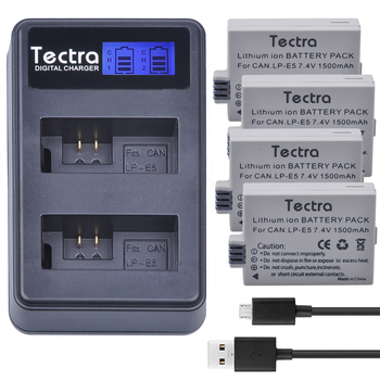Tectra LP-E5 LPE5 4PCS Battery + LCD USB Dual Charger for Canon EOS Rebel XS Rebel T1i Rebel XSi 1000D 500D 450D Kiss X3 Kiss фото