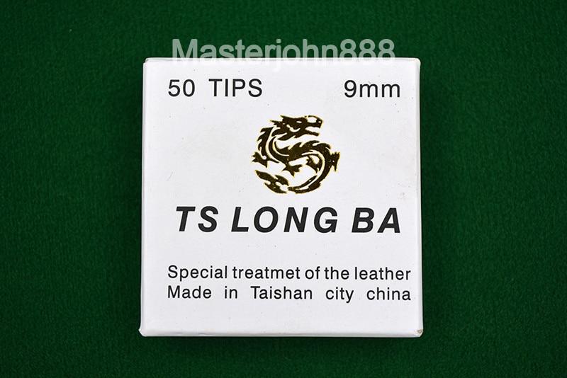 TS LONG BA 50pcs Glue-on Pool Billiards Snooker Cue Tips 9/10mm Free Shipping Wholesales