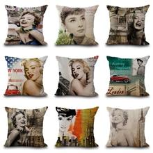 2018 NEW Sexy Marilyn Monroe Pillow Cover Linen Cushion Creative Tattoo Skull decorativos Pillowcases For Living Room