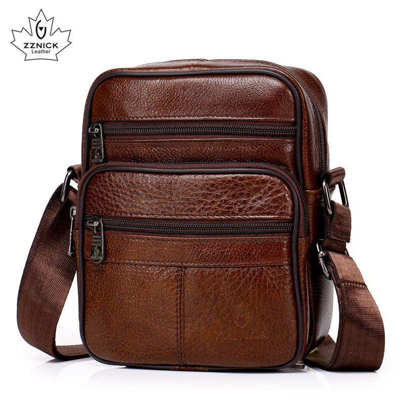 ZZNICK Genuine Leather Crossbody Messenger Bag Male Small