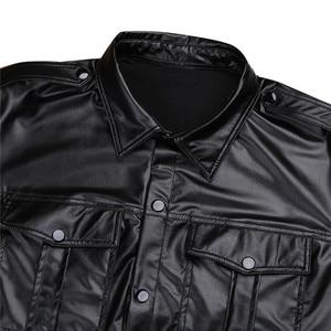 Image 3 - Męskie seksowne miękkie faux skórzane koszulki męskie czarne koszulki obcisłe koszule podkoszulki jako mundur policyjny topy z kołnierzem w dół
