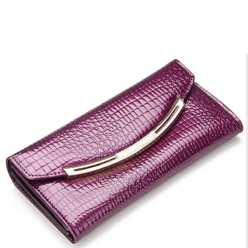 ФОТО Hot Sale Wallet Women Genuine Leather Wallet Fashion Alligator Cow Leather Lady Purse Brand Design Women Wallet Day Clutches