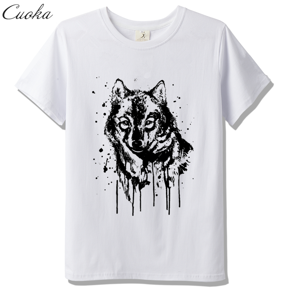 Shirt design ink - Cuoka 2017 Brand Funny Of Ink Painting Of Wolf Head Minions Design T Shirt Hipster Tops