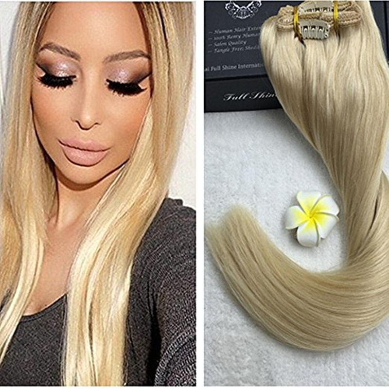 Full Shine Blonde Clip ins Extension Colour #613 14-24 inch Clip in Weft Hair Extensions Silky Straight 9 Pcs Per Set In Sale