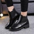 De alta calidad de Cuero Suave de LA PU zapatos de Las Mujeres del Otoño de Las Mujeres Botas, Botas de Mujer de marca Negro, moda Talones Planos Del Tobillo para las mujeres