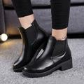 Macio de alta qualidade PU de Couro Mulheres sapatos de Outono Das Mulheres Botas, marca de Botas Femininas Preto, moda Plana Botas de Salto Alto Tornozelo para as mulheres