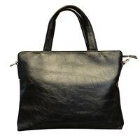 Genuine Leather Laptop Bag Waterproof 14inch Business Handbag Men's Should bag Message Notebook