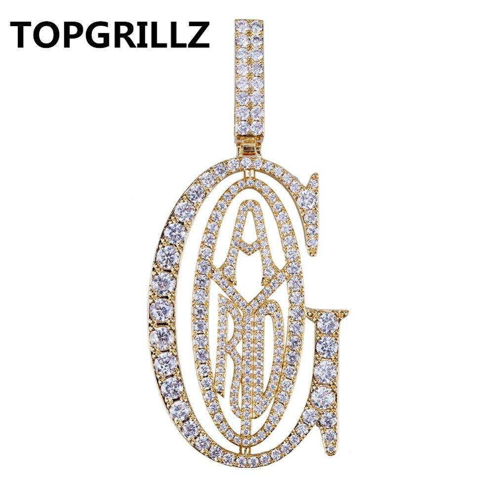 Image 2 - Подвеска TOPGRILLZ в стиле хип хоп, раппер Tyga G, с подвеской в виде льда, с микро кубическим цирконием, с большим залогом, для мужчин, подарок для ювелирных изделийОжерелья с подвеской   -