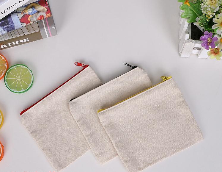 100 Pcs/lot Blank Leinwand Zipper Bleistift Fällen Stift Beutel Baumwolle Kosmetik Taschen Make-up Taschen Handy Kupplung Tasche Organizersn2003 Herausragende Eigenschaften