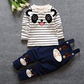 2016 New Spring Baby boys Clothing cartoon Panda stripe suspenders suits Blouse Full Sleeve +pants Twinset Kids Clothes Set