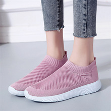 plus size breathable air mesh sneakers women 2019 spring summer slip on platform knitting flats soft walking shoes woman