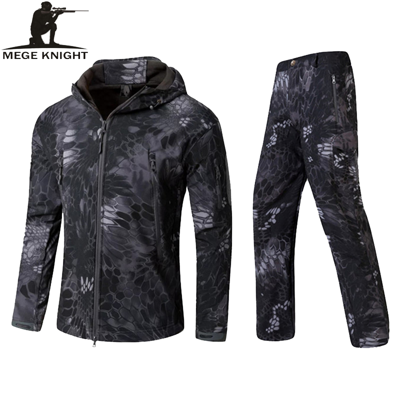 MEGE Military Army Jacket Mens Winter Autumn Clothing, Winter Coat Male Softshell Camouflage Polar Fleece Hoodies