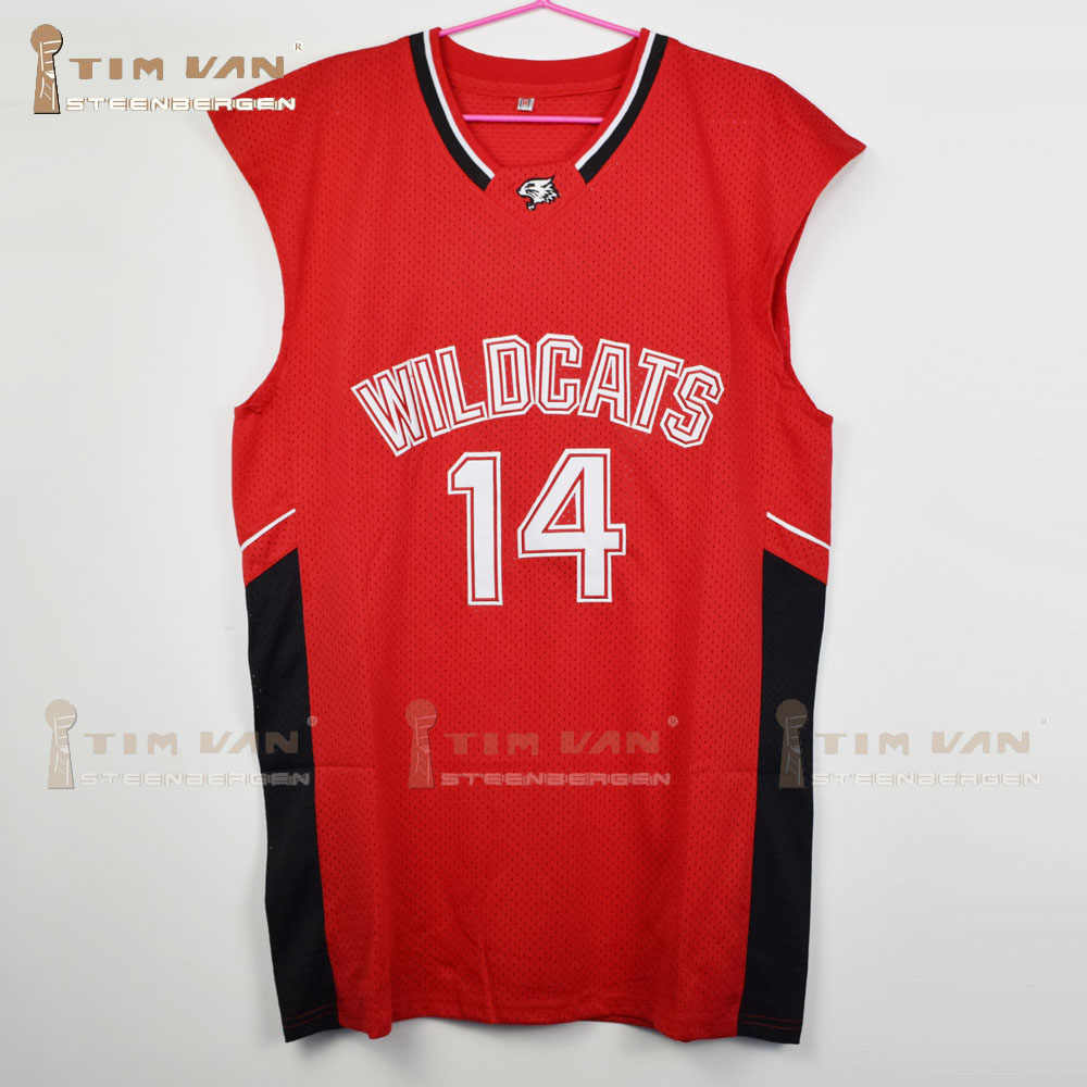 9c1efcc854d4 Zac Efron Troy Bolton 14 East High School Wildcats Home Basketball Jersey  All Stitched All Sewn