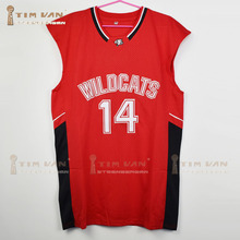 Zac Efron Troy Bolton 14 East High School Wildcats Home Basketball Jersey All Stitched All Sewn-Red