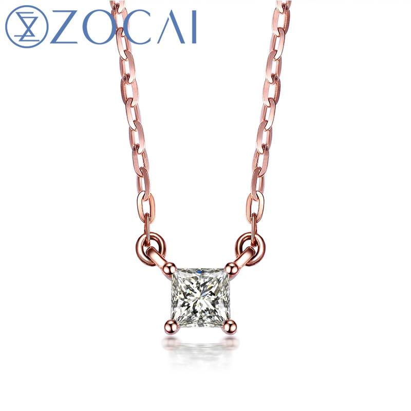 Gargantilha Projeto ZOCAI 0.09 CT Certified H/SI Diamond Link Colar 18 k Ouro rosa (Au750) D80009T