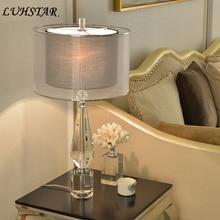 Kryształowa lampa stołowa lampka nocna do sypialni proste nowoczesne dekoracje do domu tekstylna lampa Led na taras kreatywny Hotel pokój gościnny oprawy oświetleniowe