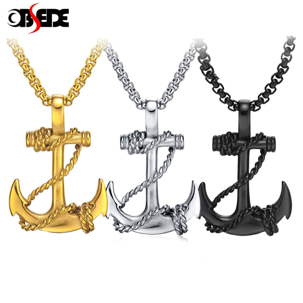 OBSEDE Punk Men Titanium Steel Pendants Chain Anchor Necklace Cross Men Women Stainless Fashion Jewelry Black/Gold/Silver Gift stylish pu leather chain titanium steel pendant punk necklace silver black
