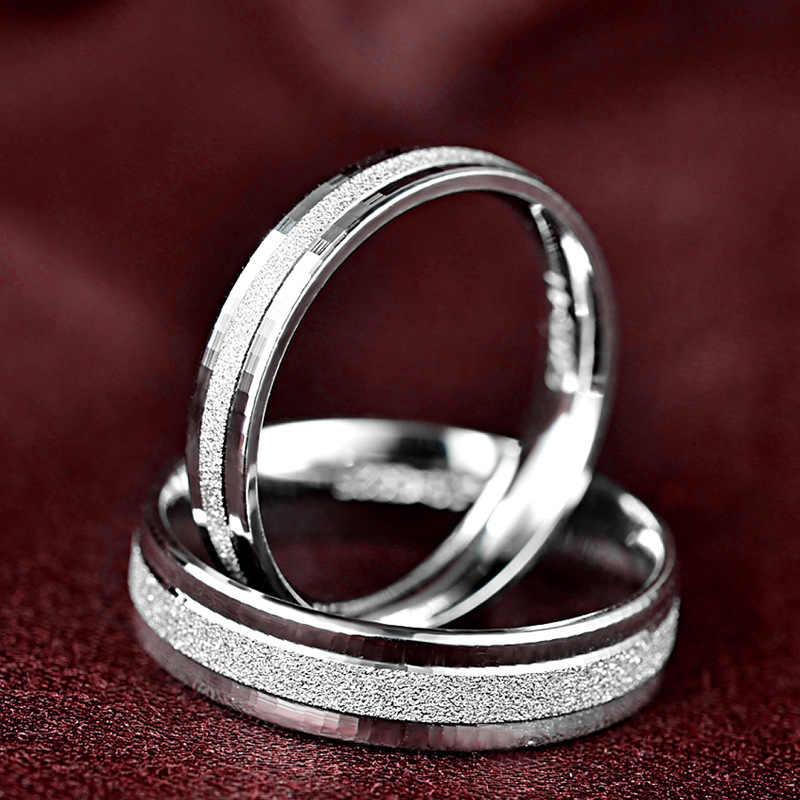 Doyubo Đơn Giản Tình Nhân Nữ Bạc 925 Nhẫn Cưới Cho Nam & Nữ Cổ Điển Chắc Chắn Bạc Cặp Nhẫn Phụ Kiện VB050